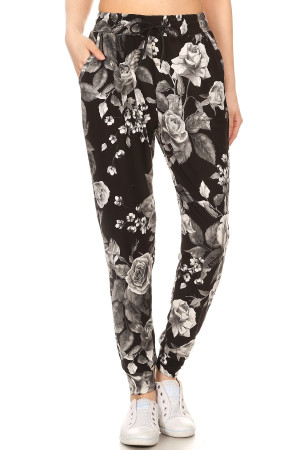 Wholesale Buttery Soft Monochrome Rose Plus Size Joggers