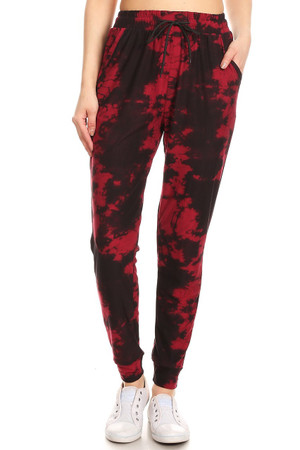 Wholesale Buttery Soft Burgundy Tie Dye Joggers