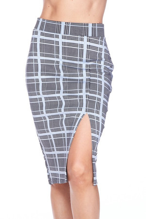 Wholesale Silky Soft Scuba Baby Blue Glen Plaid Plus Size Pencil Skirt with Front Slit