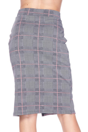 Wholesale Silky Soft Scuba Coral Glen Plaid Plus Size Pencil Skirt with Front Slit