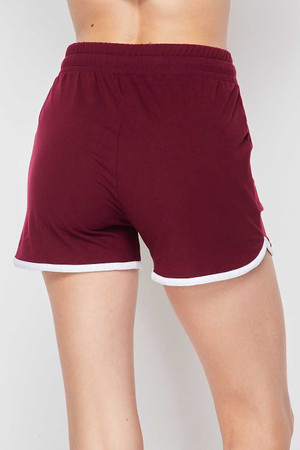 Back side image of Burgundy Wholesale Buttery Soft Drawstring Waist Dolphin Shorts with Pockets