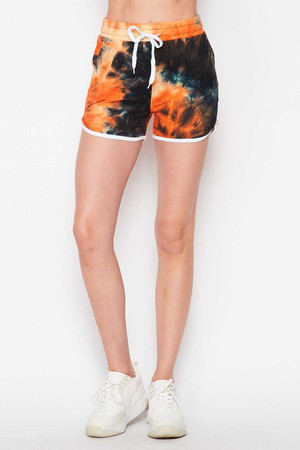 Wholesale Buttery Soft Orange Tie Dye Drawstring Waist Dolphin Shorts with Pockets