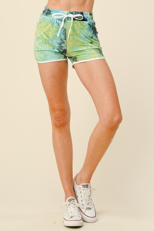 Wholesale Buttery Soft Blue Tie Dye Drawstring Waist Dolphin Shorts with Pockets