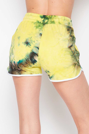 Wholesale Buttery Soft Yellow Tie Dye Drawstring Waist Dolphin Shorts with Pockets
