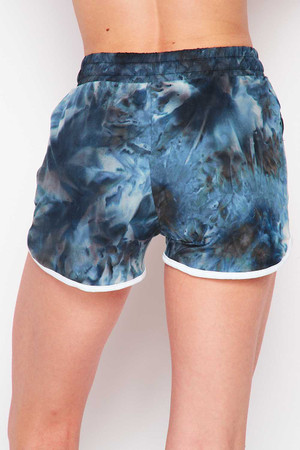 Wholesale Buttery Soft Navy Tie Dye Drawstring Waist Dolphin Shorts with Pockets