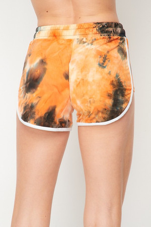 Wholesale Buttery Soft Orange Tie Dye Side Striped Drawstring Waist Dolphin Shorts