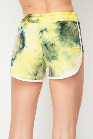 Wholesale Buttery Soft Yellow Tie Dye Side Striped Drawstring Waist Dolphin Shorts