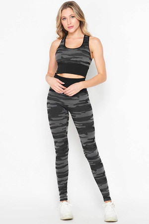 Wholesale 2 Piece Seamless Charcoal Camouflage Bra Top and Leggings Sport Set