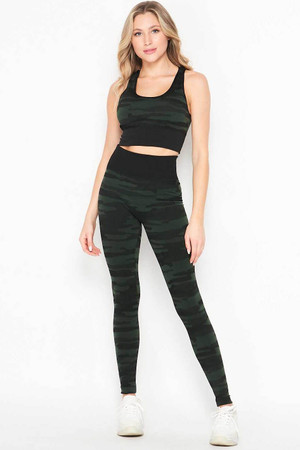 Wholesale 2 Piece Seamless Olive Camouflage Bra Top and Leggings Sport Set