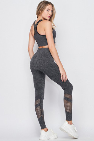 Wholesale Premium 2 Piece Charcoal Bra Top and Leggings Sport Set