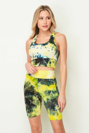 Yellow Wholesale Tie Dye 2 Piece High Waisted Biker Shorts and Crop Top Set