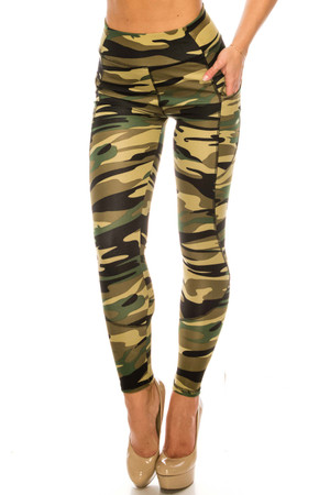 Wholesale Green Camouflage Contour Seam High Waisted Sport Leggings with Pockets