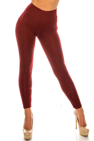 Wholesale Solid Burgundy Contour Seam High Waisted Sport Leggings with Pockets