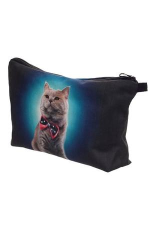 Wholesale Dapper Bowtie Kitty Cat Graphic Print Makeup Bag