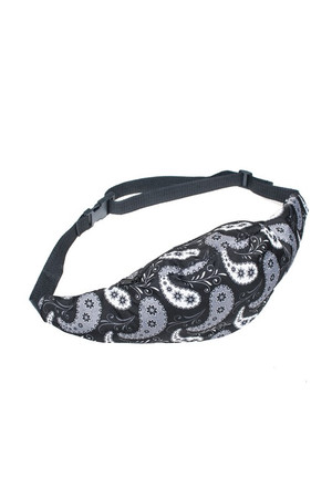 Wholesale Black and White Paisley Fanny Pack