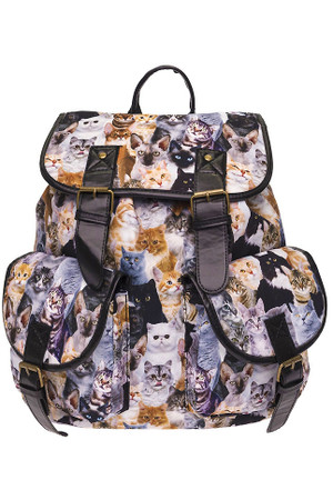 Wholesale Kitty Cat Takeover Graphic Print Buckle Flap Backpack