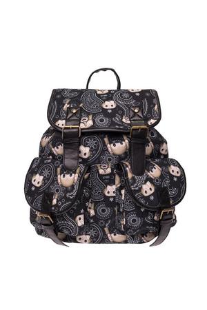 Wholesale Paisley Monkey Emoji Graphic Print Buckle Flap Backpack