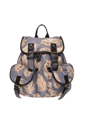 Wholesale Golden Feathers Graphic Print Buckle Flap Backpack