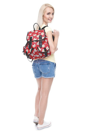 Wholesale Sunny Side Up Kitty Cat Graphic Print Buckle Flap Backpack