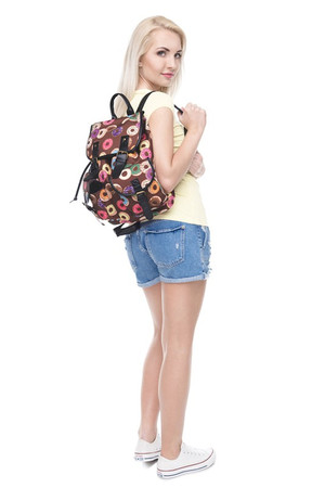 Wholesale Delicious Donuts Graphic Print Buckle Flap Backpack