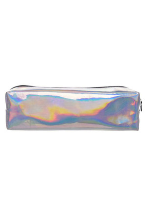 Silver Holographic Faux Leather Print Pencil Case - 7 Styles