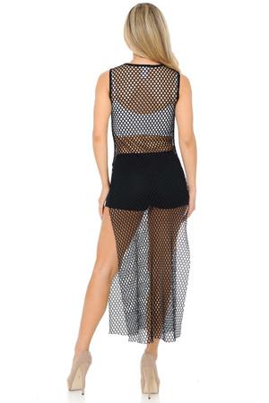 Wholesale Black Fishnet Mesh Side Slit Overlay Tank Midi Dress