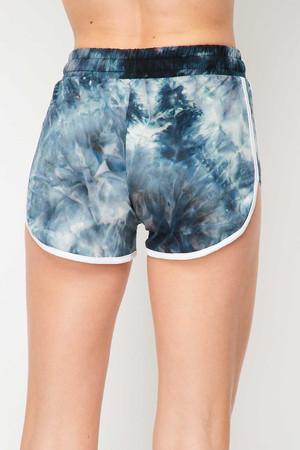Wholesale Buttery Soft Navy Tie Dye Side Striped Drawstring Waist Dolphin Shorts