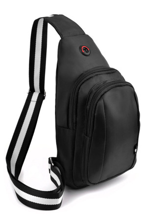 Wholesale Black Nylon Stipe Accent Strap Crossbody Sling Bag with Headphone Hole