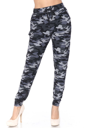 Wholesale Buttery Soft Charcoal Camouflage Plus Size Joggers - New Mix