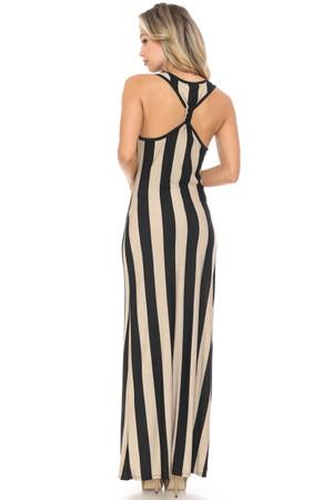 Wholesale Vertical Stripes Maxi Dress