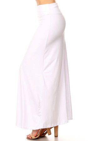 Wholesale Buttery Soft Solid White Plus Size Maxi Skirt