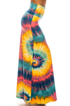 Wholesale Buttery Soft Multi-Color-Bold Tie Dye Maxi Skirt