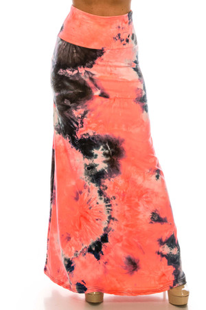 Wholesale Buttery Soft Coral Tie Dye Plus Size Maxi Skirt