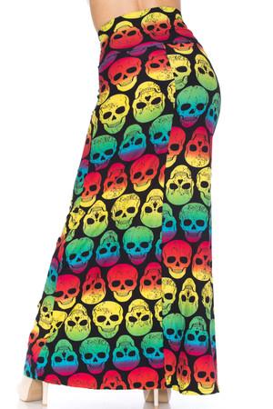 Wholesale Buttery Soft Rainbow Skull Plus Size Maxi Skirt