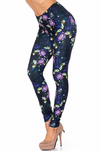 Wholesale Creamy Soft Purple and Violet Rose Leggings - USA Fashion™