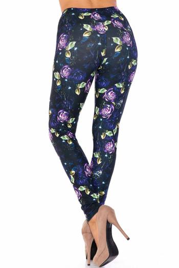 Wholesale Creamy Soft Purple and Violet Rose Plus Size Leggings - USA Fashion™