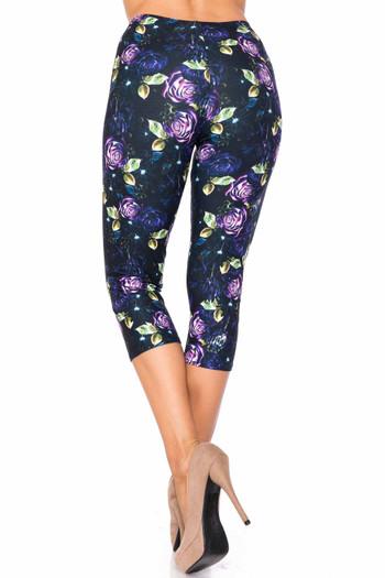 Wholesale Creamy Soft Purple and Violet Rose Plus Size Capris - USA Fashion™