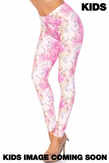 Wholesale Creamy Soft 3D Pastel Ombre Rose Kids Leggings - USA Fashion™