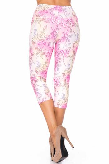 Wholesale Creamy Soft 3D Pastel Ombre Rose Extra Plus Size Capris - USA Fashion™