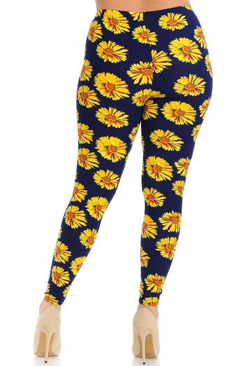 Wholesale Buttery Soft Summer Daisy Extra Plus Size Leggings - 3X-5X