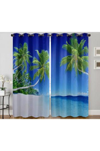 "Wholesale Palm Beach Paradise Digital Print 2 Panel Curtain Set - 27"" x 84"""