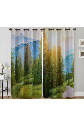 "Wholesale Forest Sunrise Digital Print 2 Panel Curtain Set - 27"" x 90"""