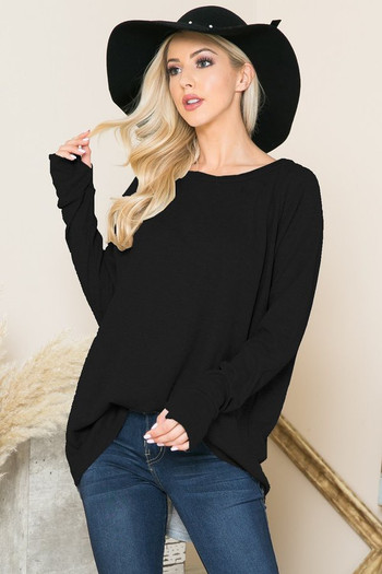 Black Wholesale Oversized Long Sleeve Thermal Tunic with Thumbholes