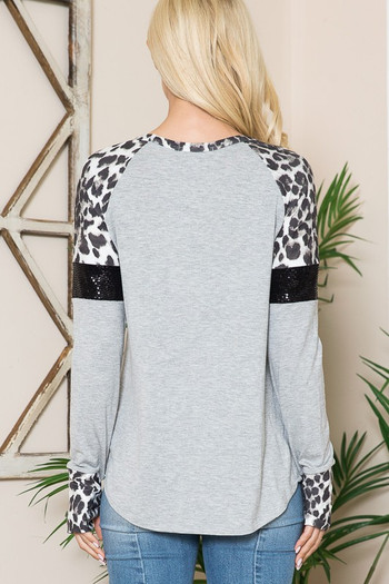 Wholesale Leopard Contrast Sequin Pocket Long Sleeve Top with Thumbholes