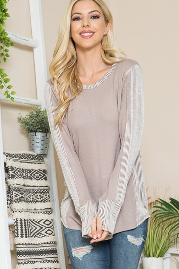 Wholesale Taupe Rib Contrast Thermal Long Sleeve Top with Thumbholes