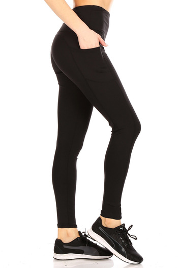 Right side of Black Solid High Waisted Sports Leggings with Side Pockets