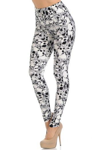 Wholesale Buttery Soft White Layers of Skulls Leggings