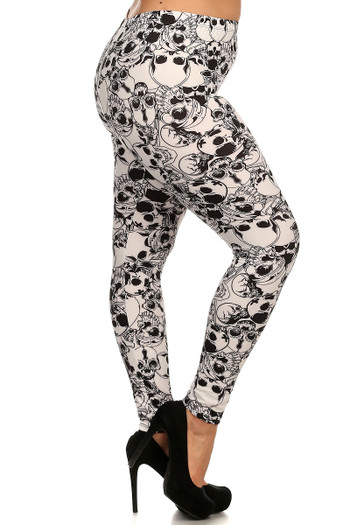 Side Image of Wholesale Buttery Soft White Layers of Skulls Plus Size Leggings - 3X-5X