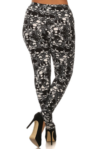 Wholesale Buttery Soft Black Layers of Skulls Plus Size Leggings