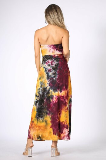 Back of Burgundy Wholesale Tie Dye Ruched Split Front Maxi Duster Tube Top